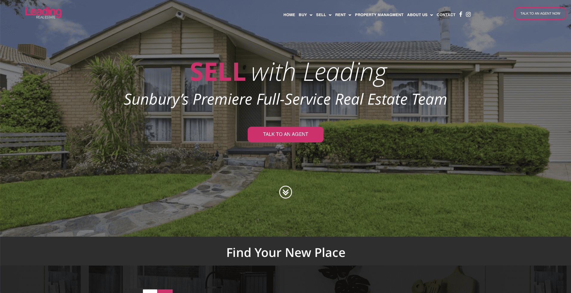 Screenshot of what the Leading Real Estate site looks like on desktop