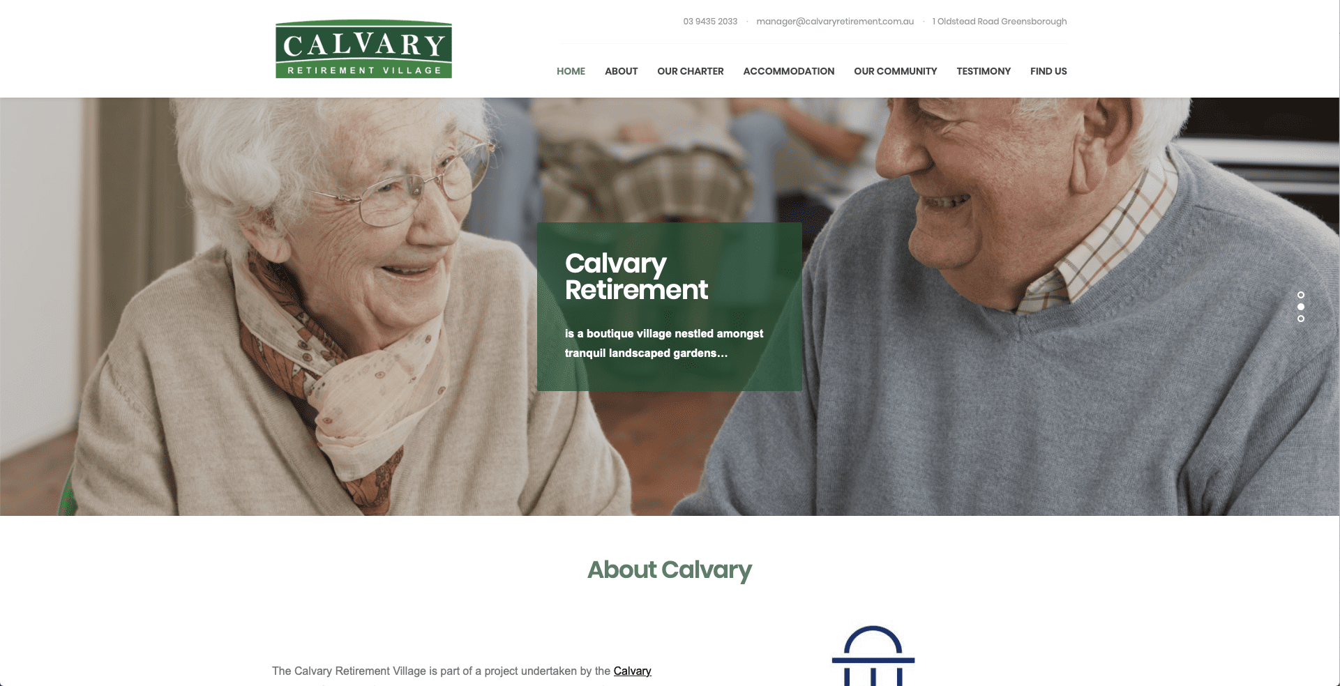 Screenshot of what the Calvary Retirement Village site looks like on desktop