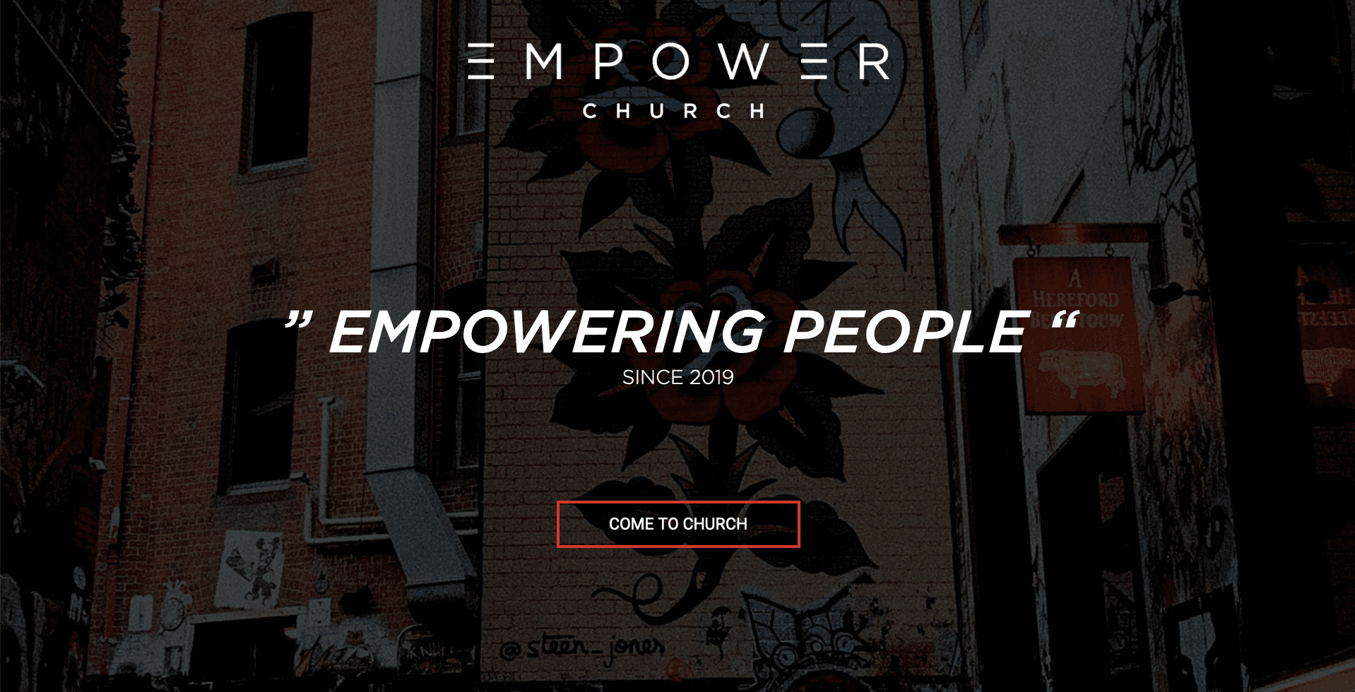 Screenshot of what the Empower Church site looks like on desktop